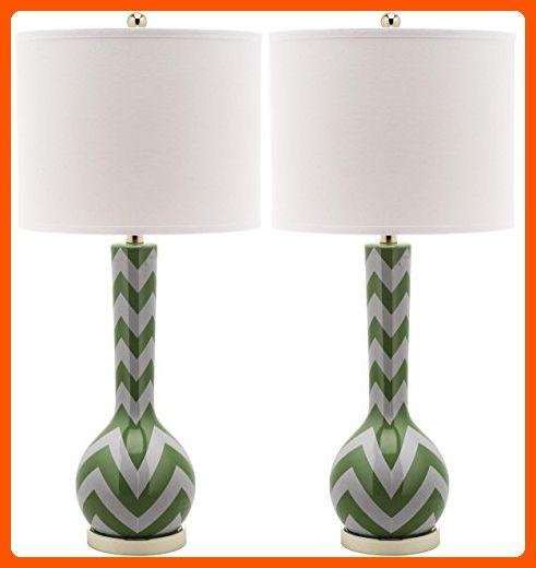 Safavieh Lighting Collection Chevron Long Neck Ceramic Table Lamp Fern Green Set Of 2 Improve Your Home Amazon Partner Li Green Table Lamp Lamp Lamp Sets