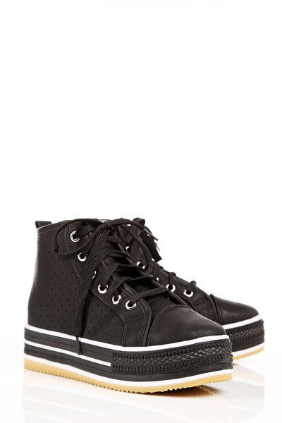 Perforated Lace Up Flatform