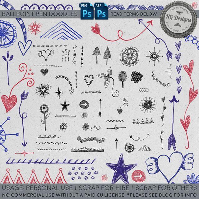 Freebie Ball Point Pen Doodle Brushes Pen Doodles Doodles