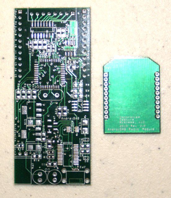 Bare AndroiDAQ circuit board with bare xBee radio compatible circuit ...