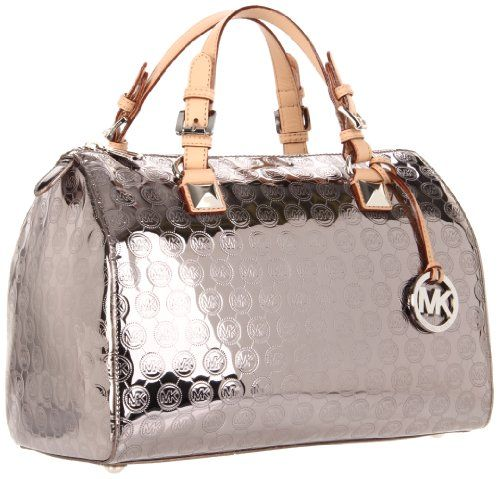 Amazon.com: MICHAEL Michael Kors Grayson Large Monogram Mirror Metallic Satchel (Nickel): Clothing