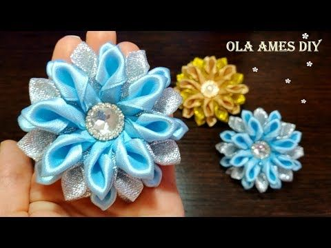 Ribbon Flowers| Цветы снежинки из лент Канзаши| Easy Flower Making| DIY Kanzashi| Ola ameS DIY #ribbonflower