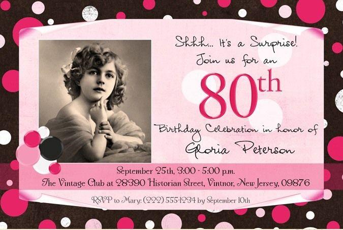 Ladys Polka Dot Photo Birthday Invitation