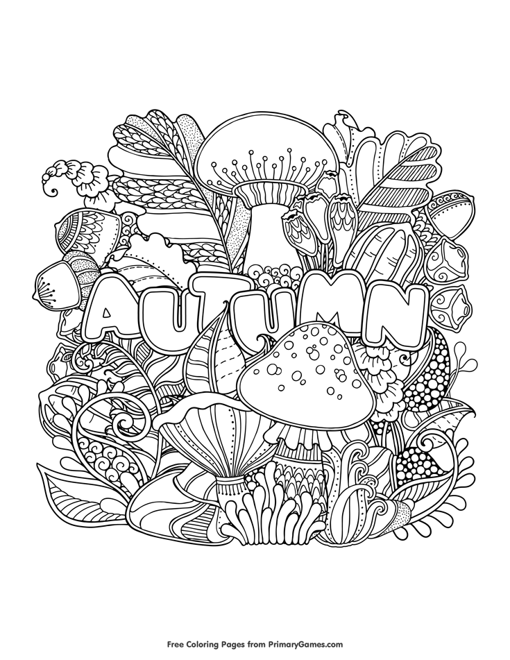 Autumn Coloring Page • FREE Printable eBook | Fall coloring ...