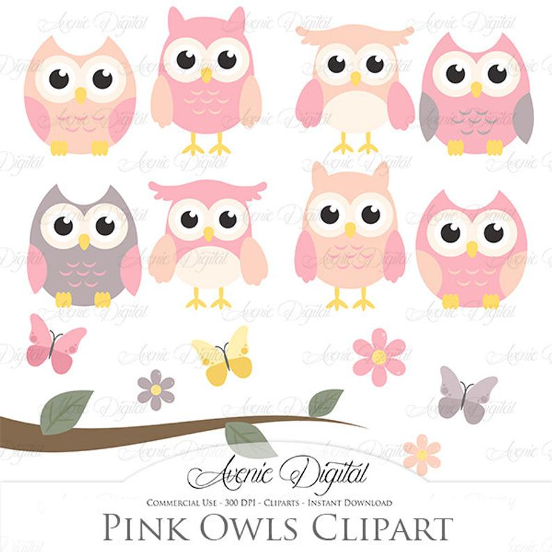 Baby Shower decoration,birthday instant download commercial license png file Nursery Baby Pink and gray owl clip art Girl Owl Clipart