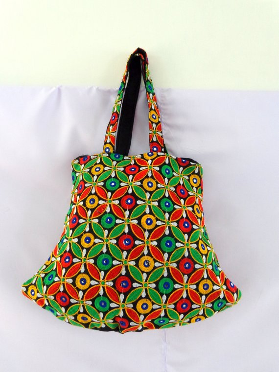 52b1bc35722b Multicolored Mirror Work Banjara Bag - Traditional Vintage Handmade .