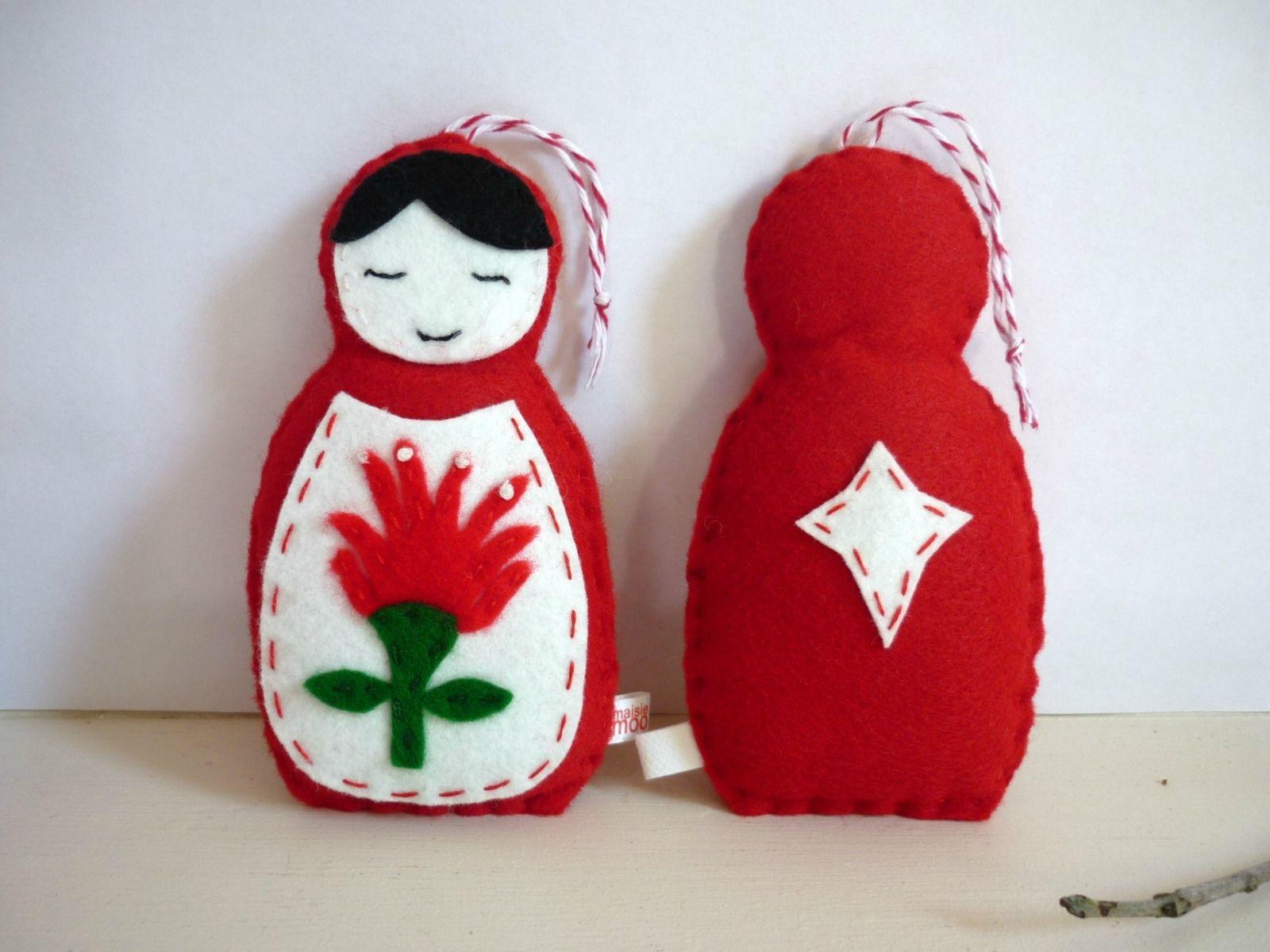 pohutukawa russian doll christmas decoration made to order felt