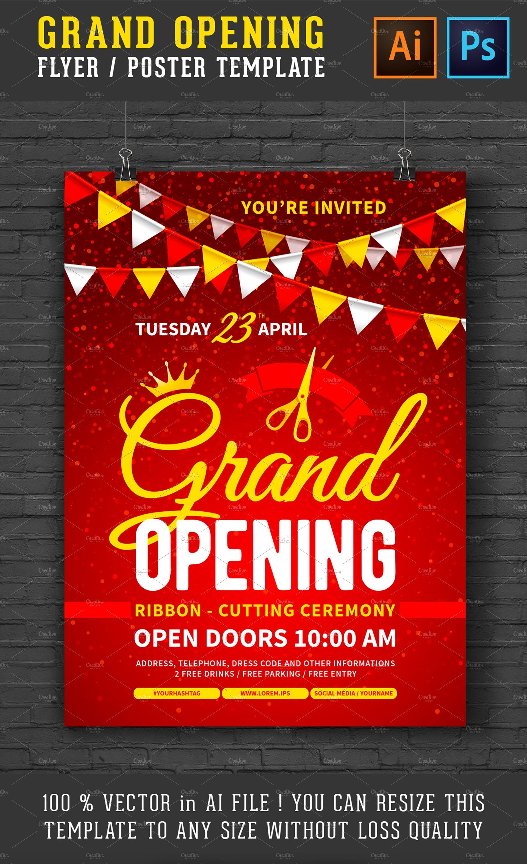 Grand Opening Poster Flyer Grand Opening Invitations Grand Opening Flyer Free grand opening flyer template
