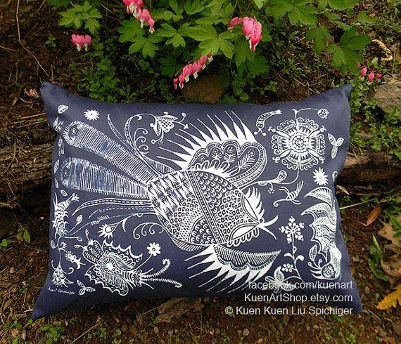 Handmade Chinese Miao Indigo Batik Pillows by KuenArtShop on Etsy