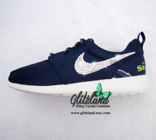 702509a3311fe Seattle Seahawks Swarovski Nike Girls   Women Navy Roshe Run w  Seattle  Seahawks Print Heel Blinged with SWAROVSKI® Crystals