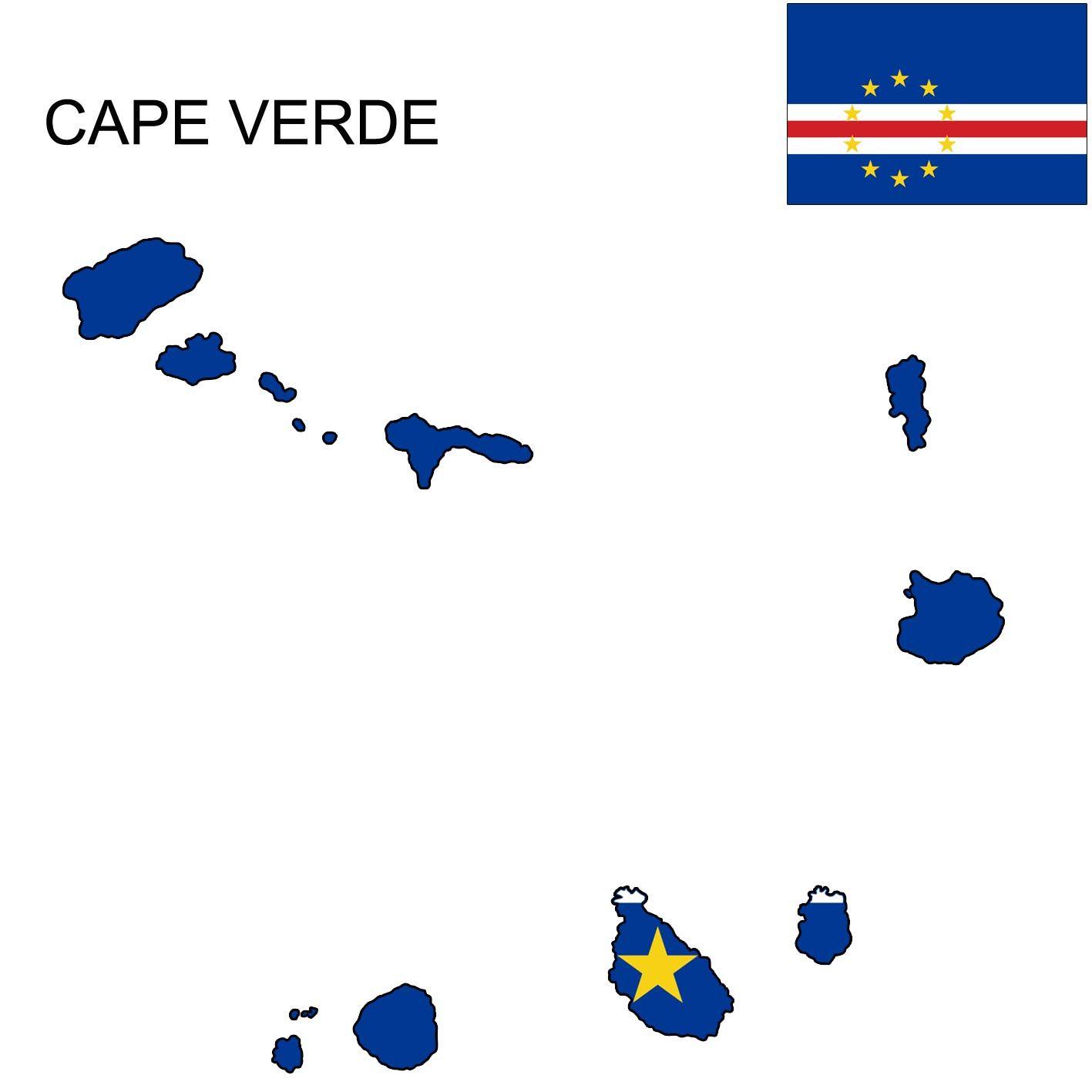 Cape Verde Flag Map | Cape verde flag, Cape verde map, Cape verde