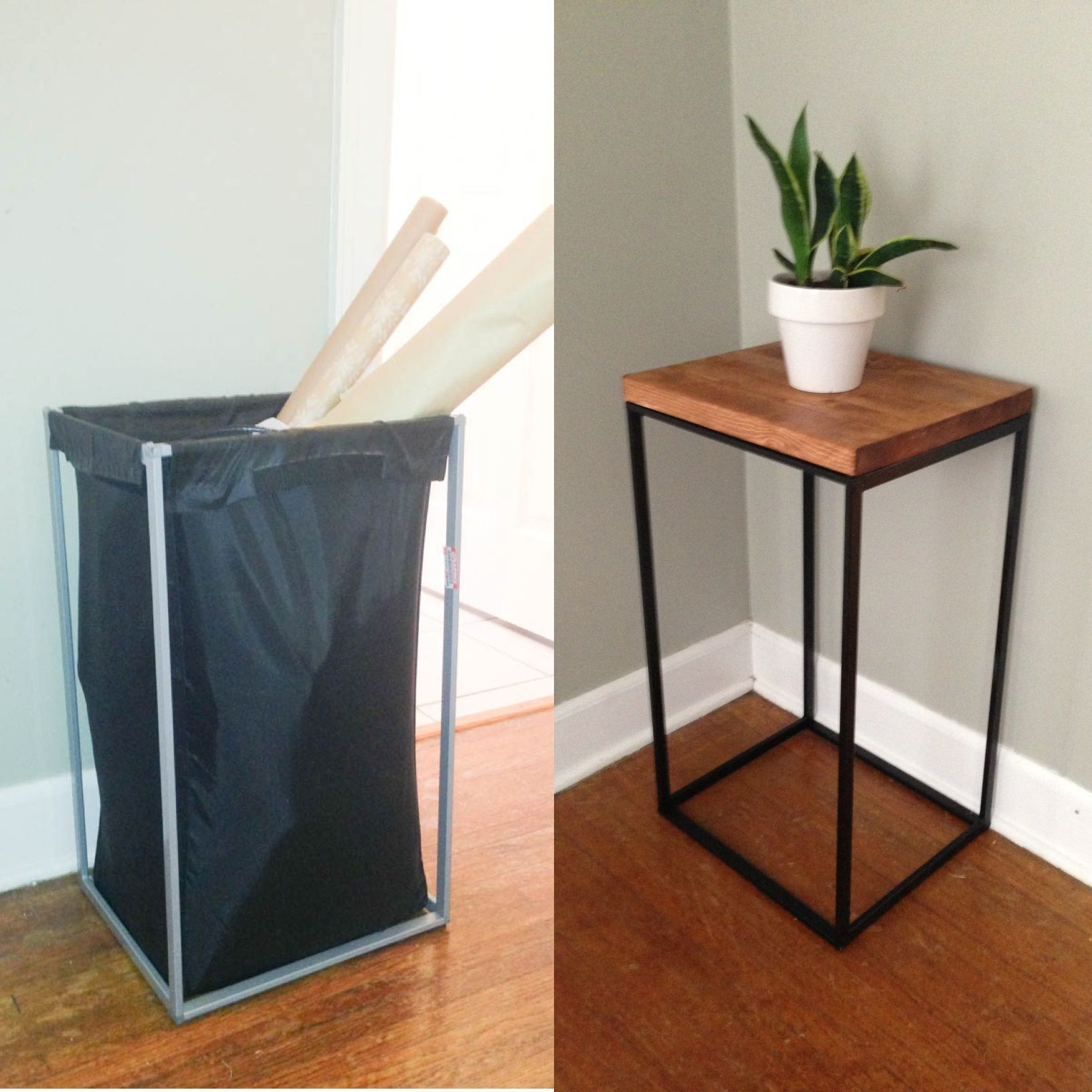diy side table from old ikea laundry hamper// the clever