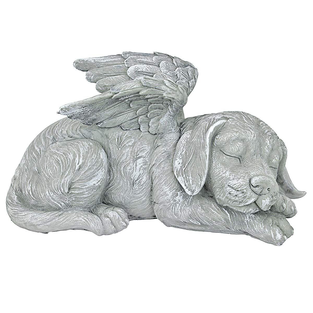 Design Toscano Dog Angel Pet Memorialgrave Marker Tribute Statue 10 Inch Polyresin Stone Finish Statue Outdoor Garden Statues Dog Angel