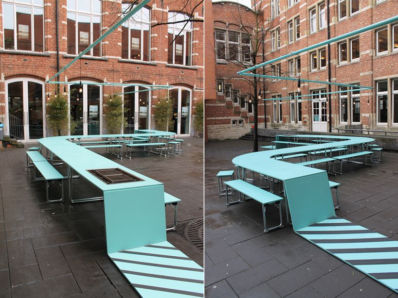 Kitchain created in 2009 by Lisbon- based project studio MOOV. Modular table-based open system, inspired by the flexibility of camping equipment.