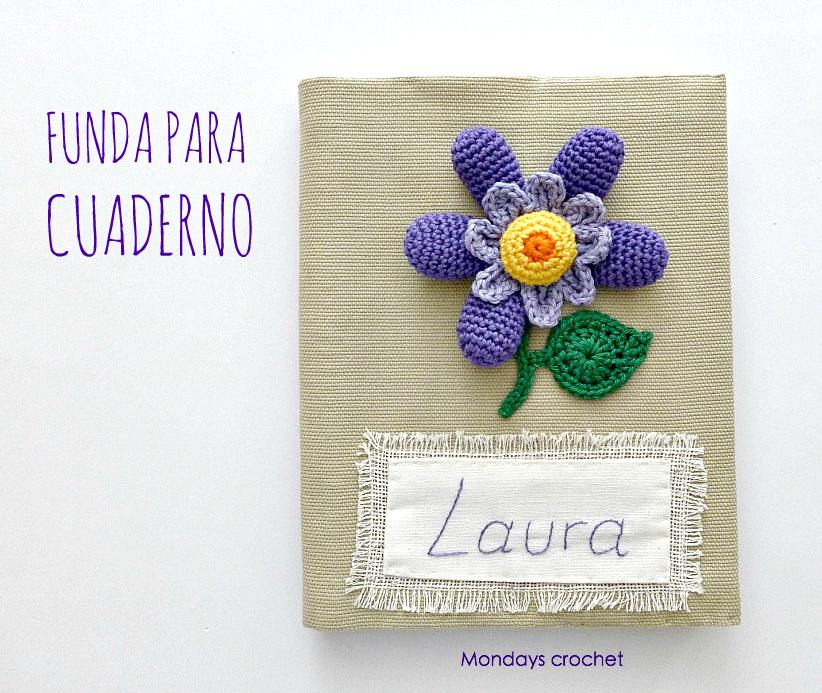 Funda de cuaderno con flor de crochet. patrón gratuito | Costura + ...