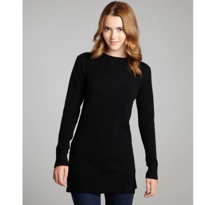 Hayden black back zip long sleeved cashmere tunic sweater | back ...