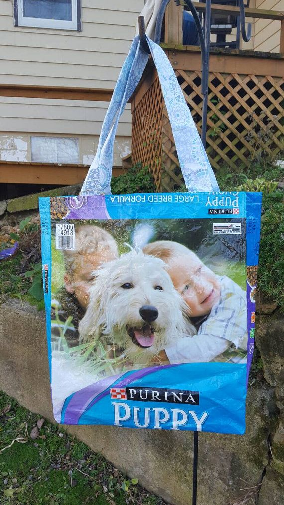 Reusable Shopping Bag Made From A Woven Plastic Dog Food Bag