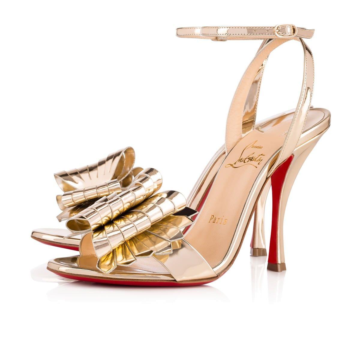 6828a5c2328b Miss Valois 100 Light Gold Specchio Laminato - Women Shoes - Christian  Louboutin