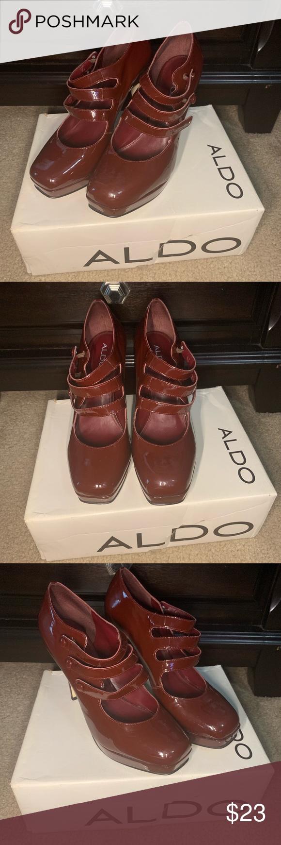 Burgundy platform Aldo heels size 10. Aldo heels, Dress
