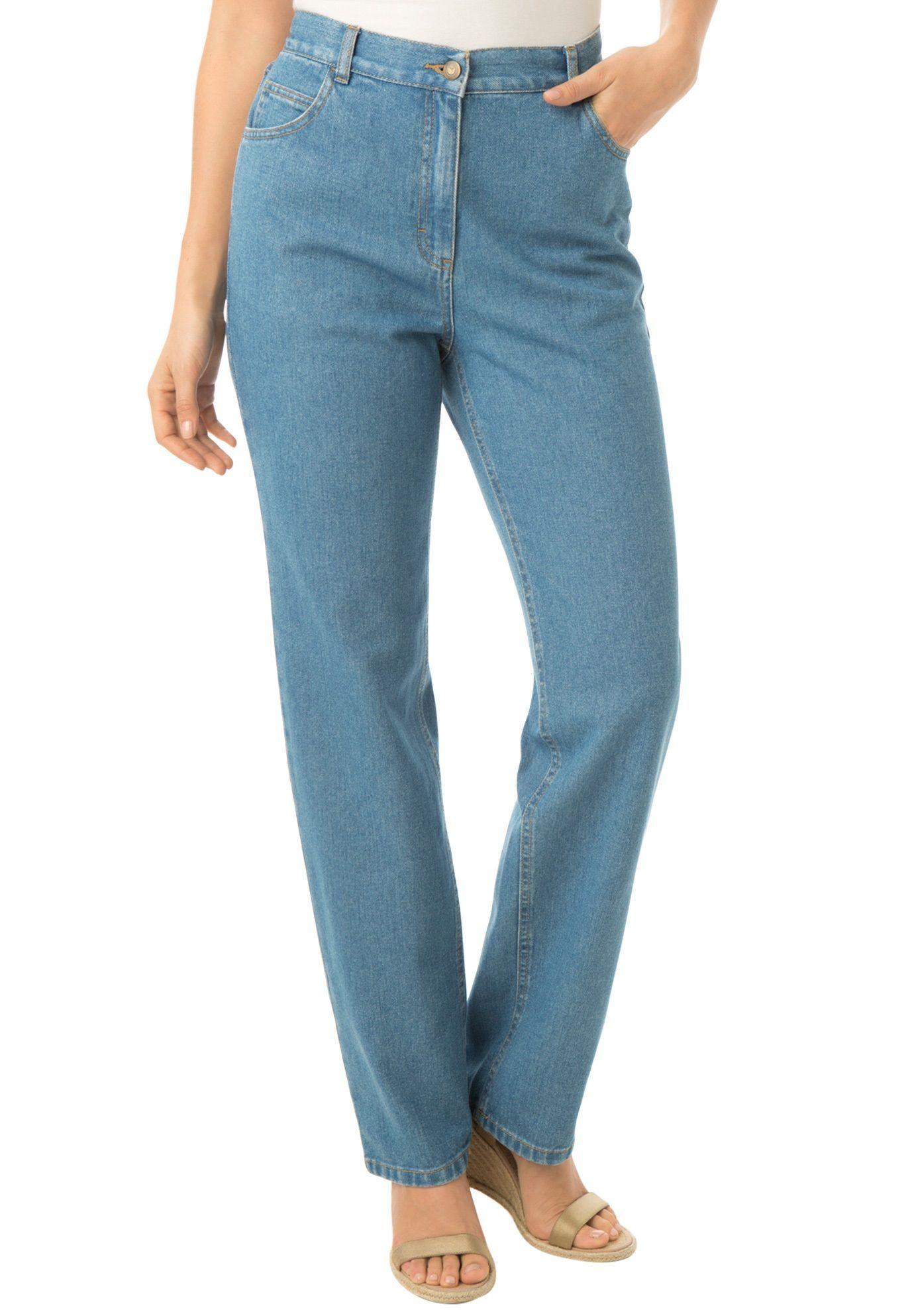 8c30e864f590d Stretch Back-Elastic Straight-Leg Jeans - Women s Plus Size Clothing ...