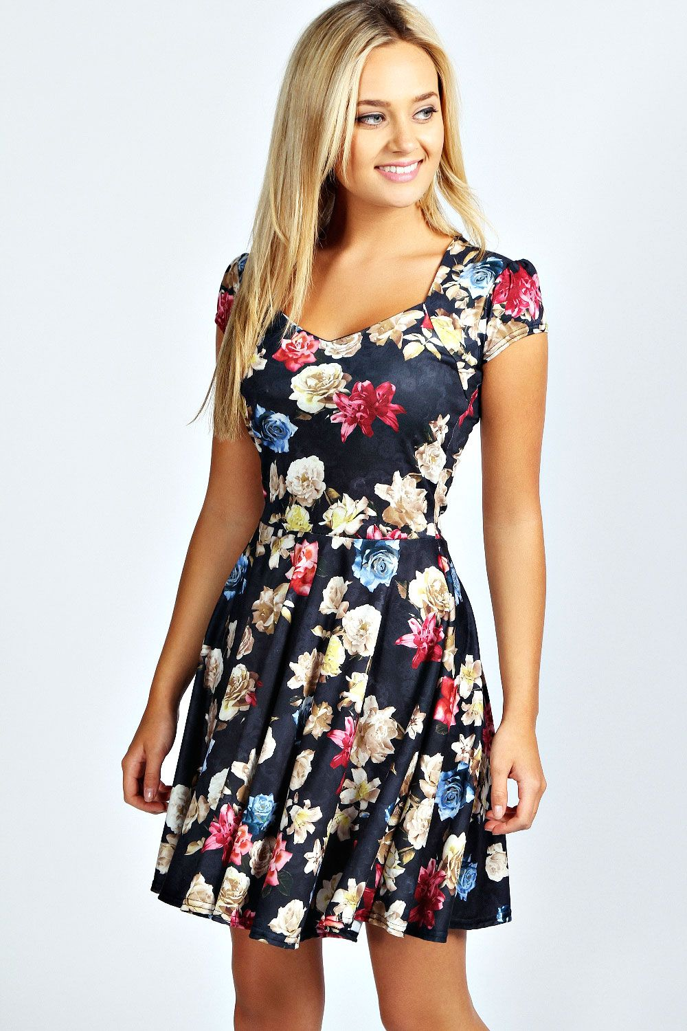 Dahlia Floral Print Sweetheart Skater Dress | Print..., Summer and ...