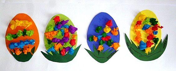 Ostereier aus Ton- und Krepppapier –  Ostern-basteln – Meine Enkel und ich