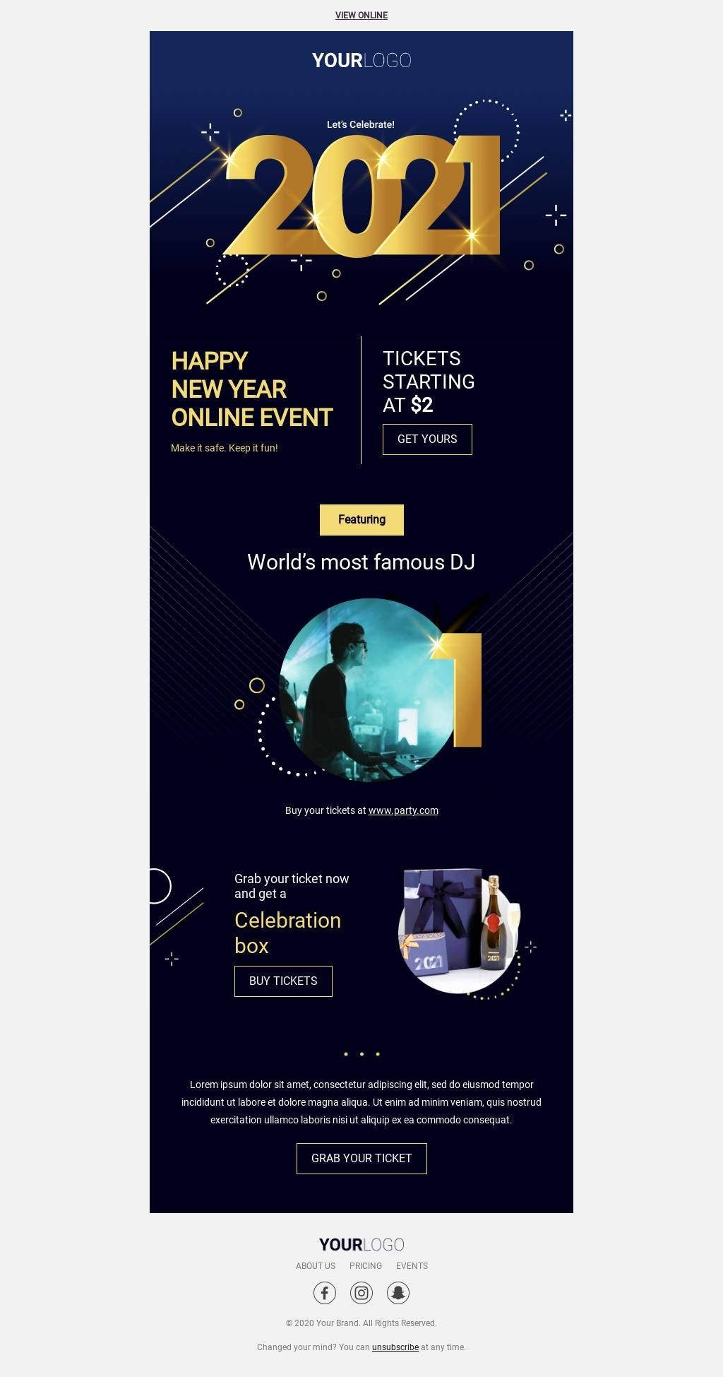 Template Bee Free Email Template Design Online Event Celebration Box