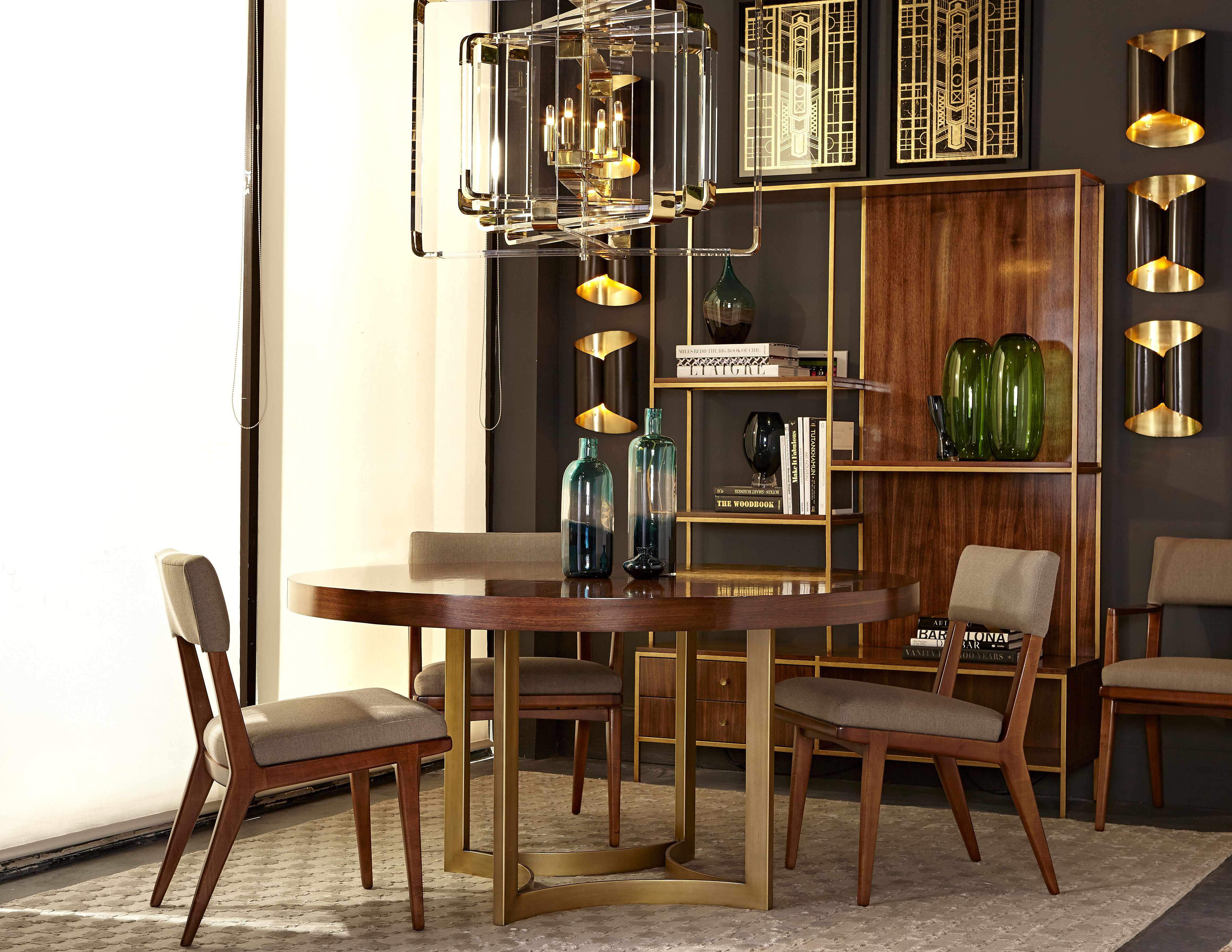A Modern Mid Century Dining Room From Maison Featuring The Lucas Side Chair Ashton Round Table And Copeland Etagere