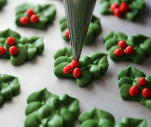 Simple Royal Icing Holly Decorations Christmas Baking Royal