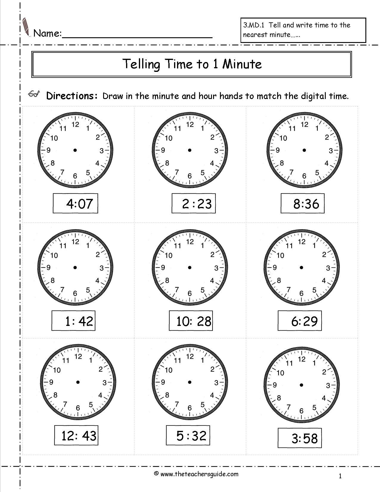 Worksheets Worksheets For Telling Time telling time worksheets from the teachers guide math ideas guide