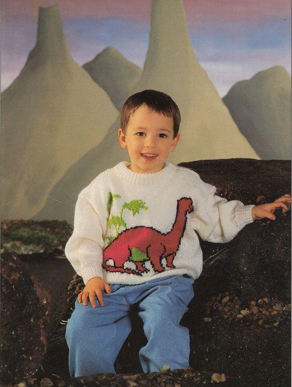 Dinosaur Jumper Knitting Pattern Pdf Vintage By Ecbcrafts On Etsy
