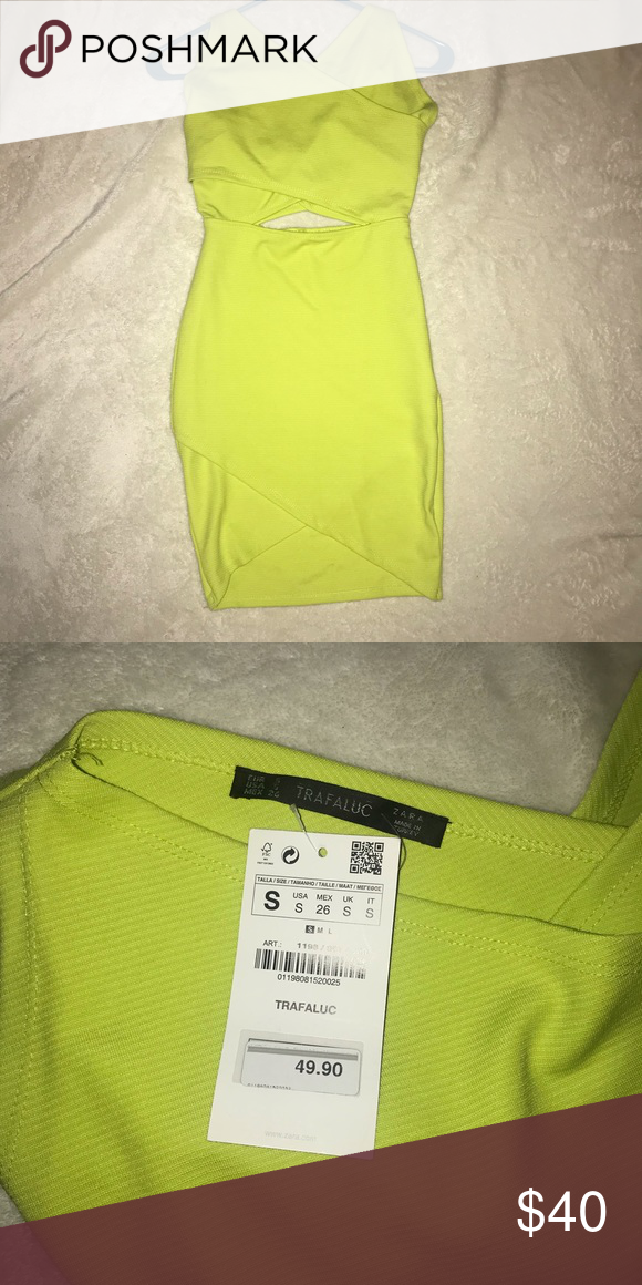 7bda6616 Brand NEW lime green Zara dress size S Brand new, lime green Zara dress w/  cut out size S. Never worn, tags attached Zara Dresses Mini
