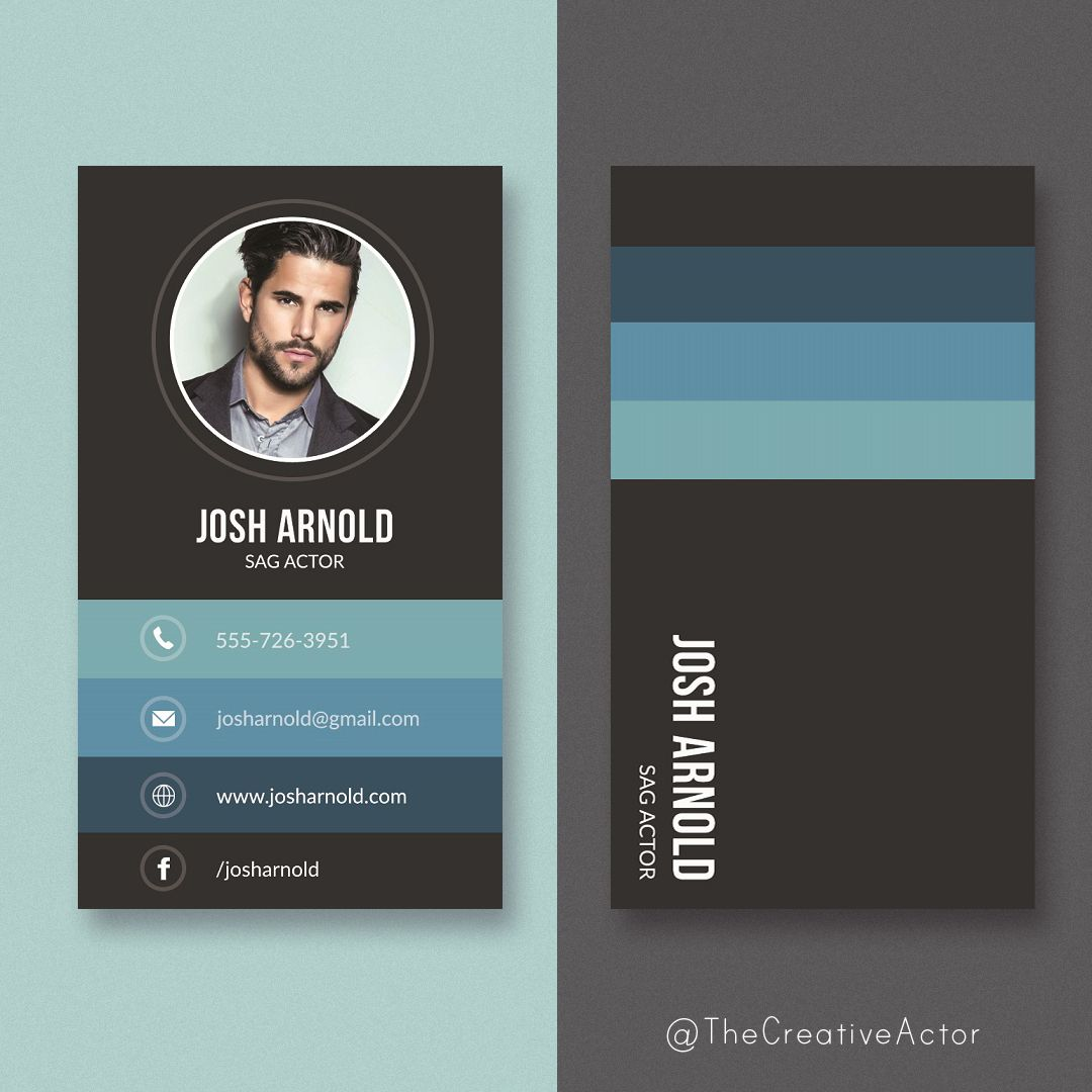 Photo business card designs (aka calling cards) for actors ...