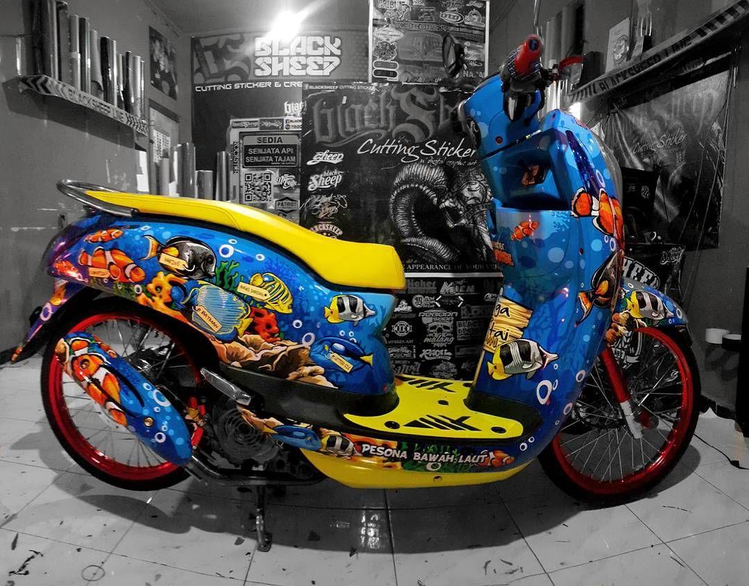 Airbrush Motor Beat O Kitty Impremedianet - Mio decalsmodifikasi striping mio j striping stickers decals joehansb
