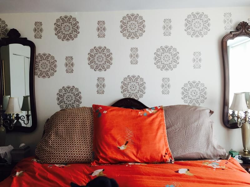 Chic Bedroom Feature Wall Created With Out Kolkata Dots Stripes