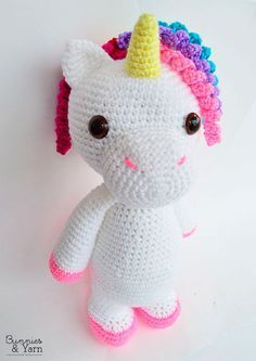 "crochet pattern in english and spanish - mimi the friendly unicorn - 15""/38 cm. tall - animal"