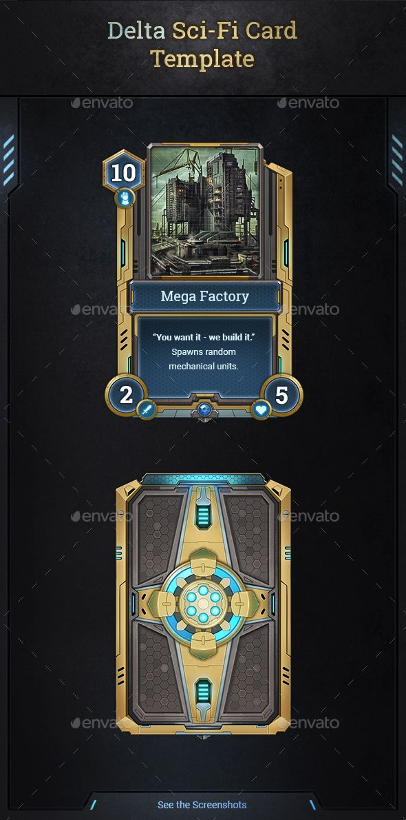 Delta SciFi Card Template Miscellaneous Game Assets