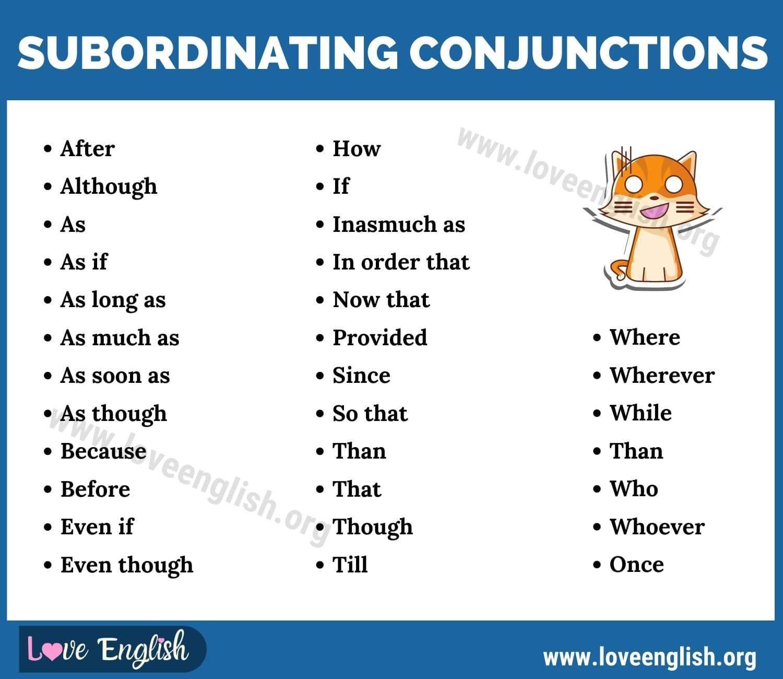 Subordinating Conjunctions: Useful Subordinating ...