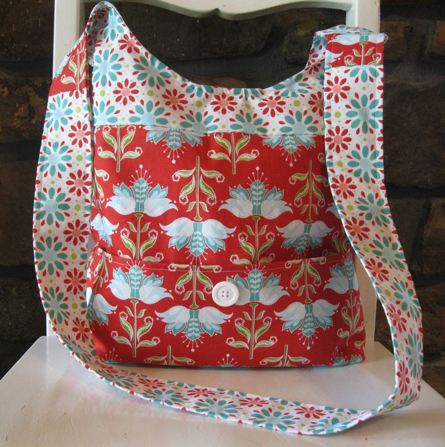 87a20596396b Handmade Fabric Bags Purses - Shoulder Bag - Riley Blake - Red and ...