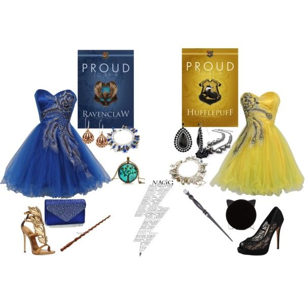 RavenClaw+Hufflepuff by lovelyangel780 on Polyvore featuring PacificPlex, Giuseppe Zanotti, Vince Camuto, Charlotte Olympia, Dasein and 1928