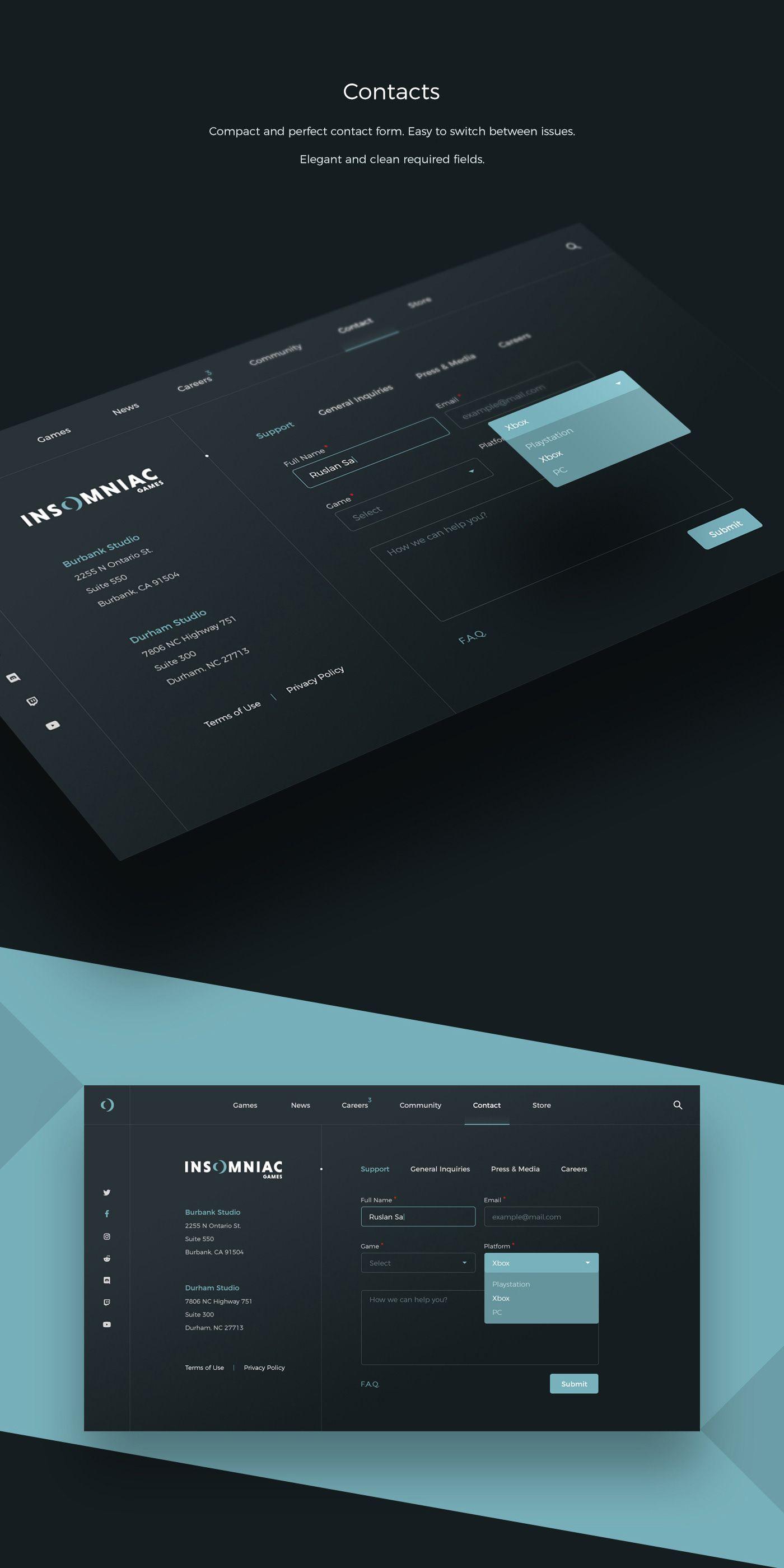 Insomniac Games Redesign Concept On Behance Web Design Black Web Layout Design Dashboard Design