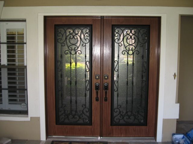 Exterior Wrought Iron With Stained Fiberglass Doors Exterior Hinged