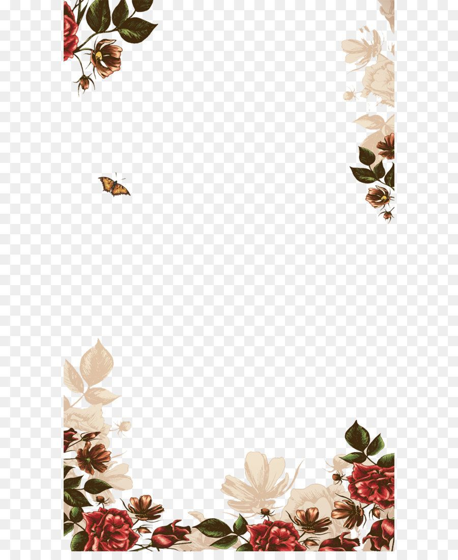 Hand Painted Flowers Border Wedding Invitation Background Invitation Background Flower Border Png
