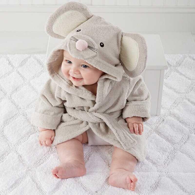Boy Girl Animal Baby Bathrobe Newborn Baby Bath Hooded Towel