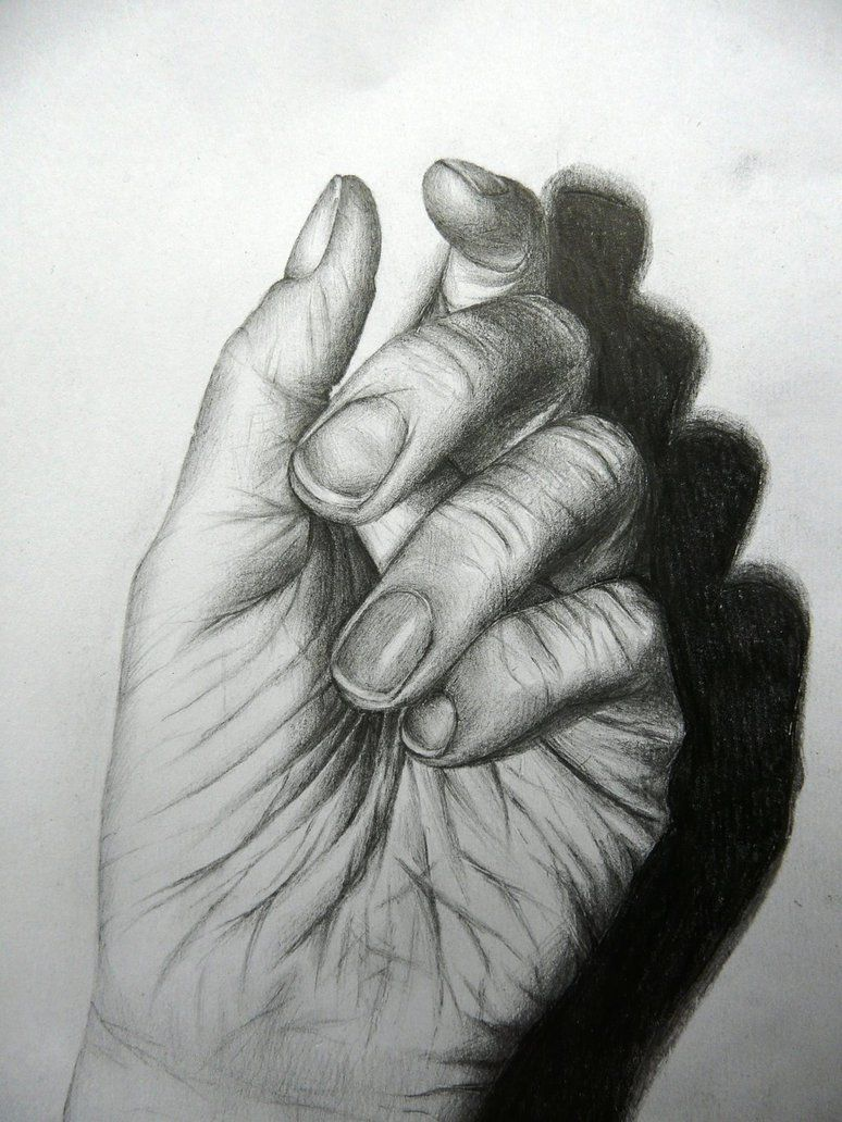 Tonal drawing of my hand by anitapatterson