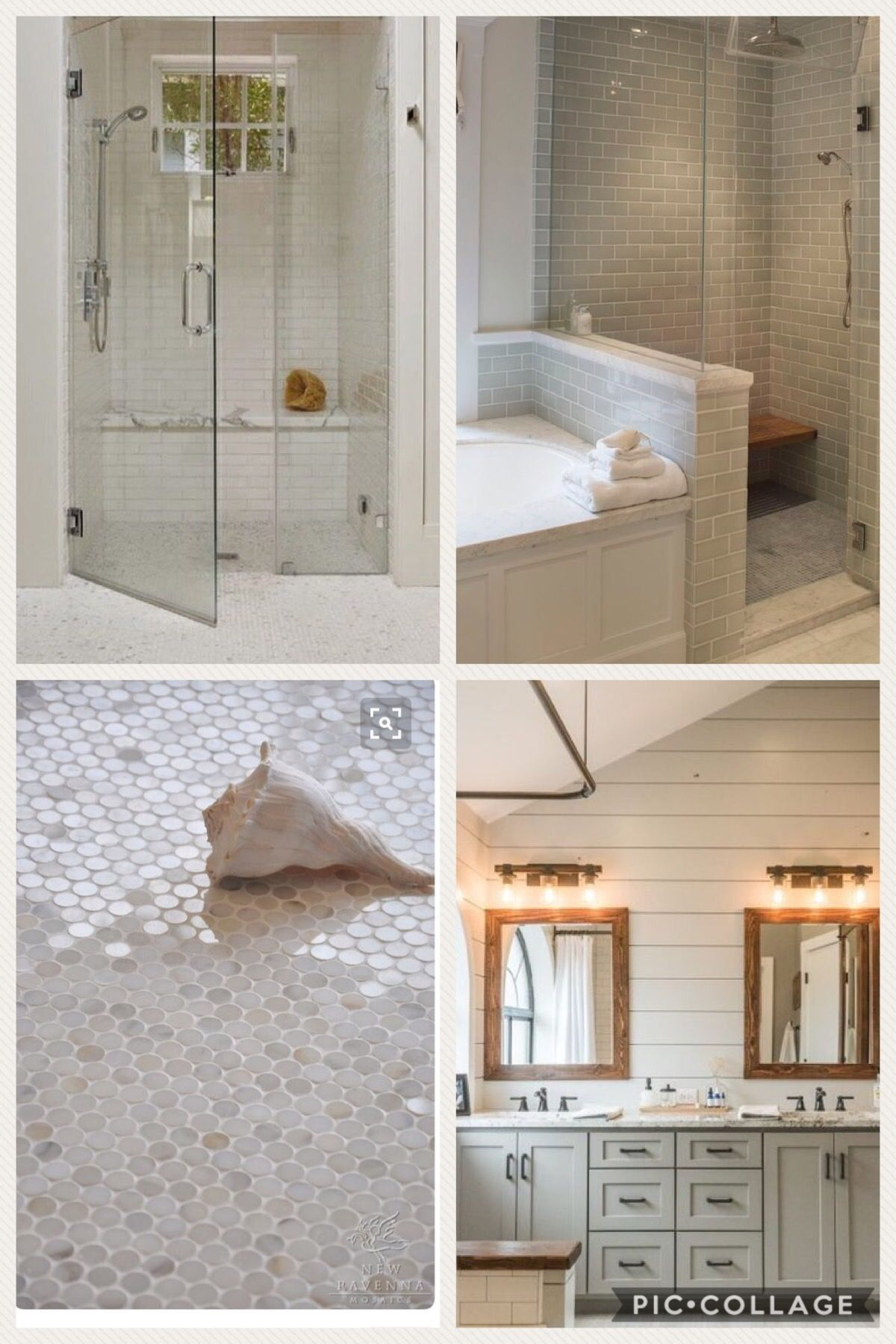 Master bathroom white dove shiplap walls pale oak cabinets