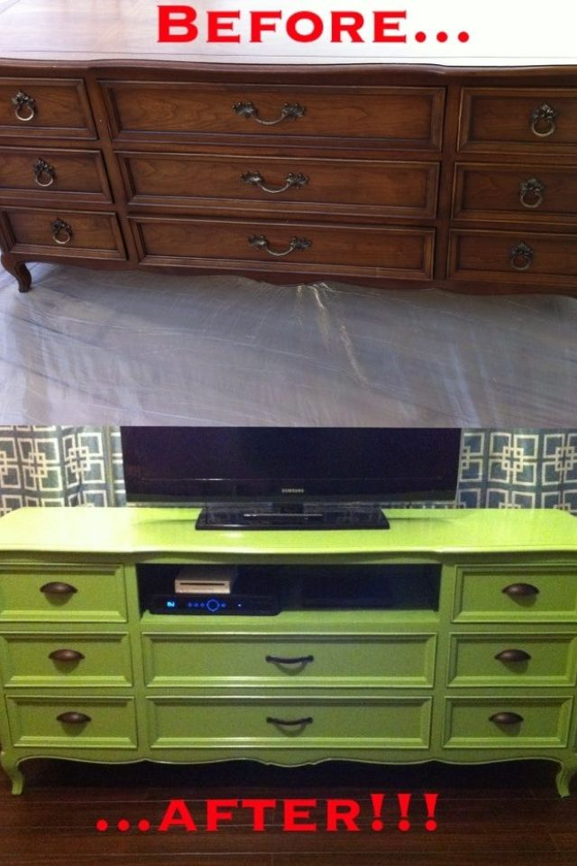 Tv table from dresser