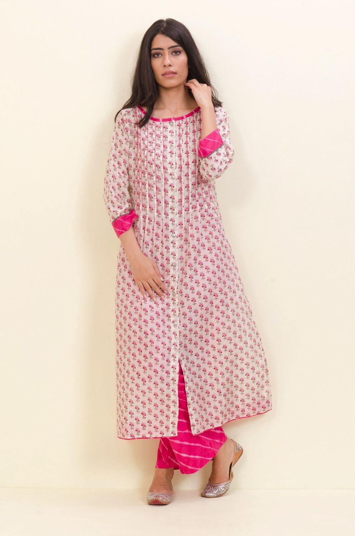 fbdf4db6bb Off White Pink Embroidered Kurta – Sampada