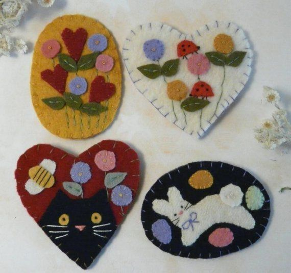 Spring and Summer Wool Pins E Pattern felt by Hudsonsholidays, $6.99