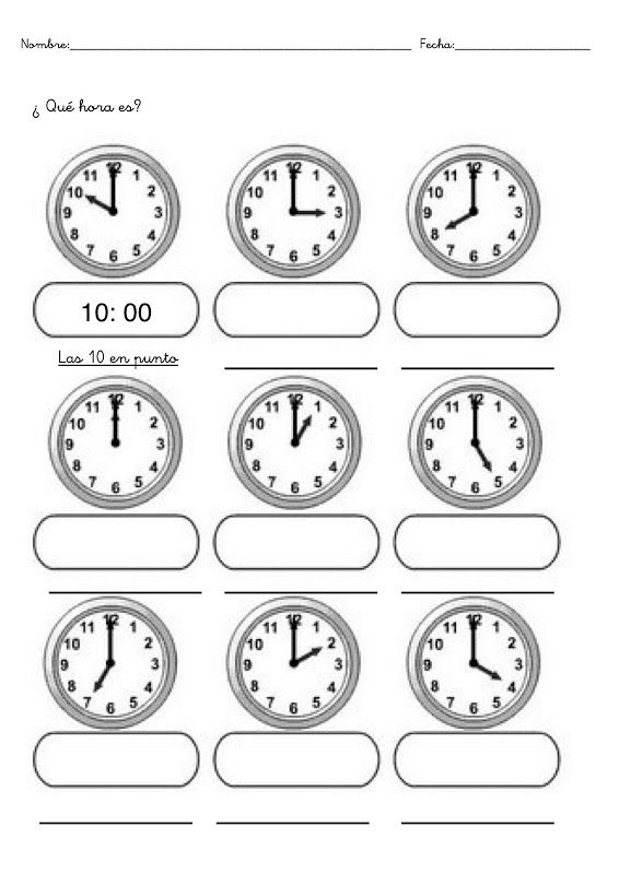 Fichas Con Ejercicios Para Aprender Las Horas Clock Worksheets Math For Kids Math Time